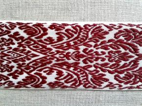 9726 ЛЕНТА ОТДЕЛОЧНАЯ ЖАККАРД белый/бордовый, 54мм (рул.50м)