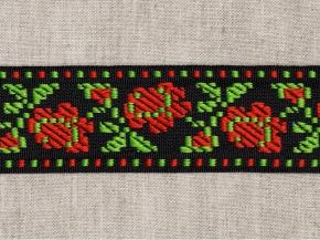 9868 ЛЕНТА ОТДЕЛОЧНАЯ ЖАККАРД цветы/черн, красн, зел. 34мм (рул.50м)