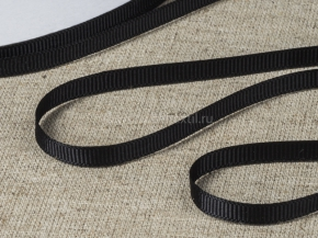 Лента репсовая шир.6мм, черный (рул.90м)