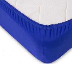 Простыня трикотажная на резинке 140*200*20 цвет синий