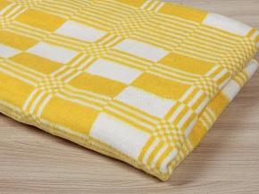 Одеяло байковое 140*205  клетка цв. желтый