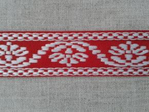 9567 ЛЕНТА ОТДЕЛОЧНАЯ ЖАККАРД белый с красным 26мм