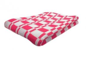 """Одеяло хлопковое 140*205 клетка """"Колосок"""" цвет розовый"""