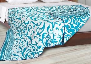 Одеяло хлопковое 170*205 жаккард 3/4 голубой