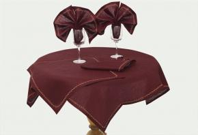 14с122-ШР/уп. Комплект столовый 90*90см + 4 салфетки 45*45см цвет 1317 бордо