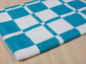 Одеяло байковое 140*205  клетка цв. синий