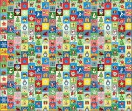 Рогожка набивная арт. 904 МАПС рис. 30167/4 Новогодняя мозайка, ширина 150 см