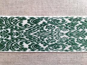 9726 ЛЕНТА ОТДЕЛОЧНАЯ ЖАККАРД белый/зеленый, 54мм (рул.50м)