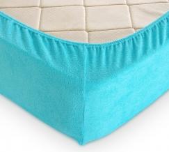 Простыня махровая на резинке 180*200*30 цвет голубой
