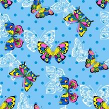 Поплин набивной рисунок 3691/1 Яркие бабочки  ширина 220см
