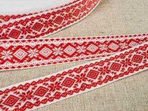 9990 ЛЕНТА ОТДЕЛОЧНАЯ ЖАККАРД белый с красным*037, 23мм (рул.50м)