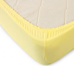 Простыня трикотажная на резинке 90*200*20 цвет желтый