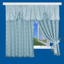 12С14-Г10 комплект штор (180*125) - 2шт + ламбрекен 55*250 цвет голубой