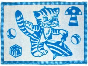 Одеяло п/шерсть в/уп. 50% 100*140 жаккард цвет синий