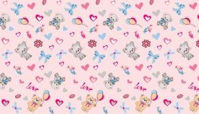"""Полотенце вафельное """"Мишки-Котики"""" 40*75 розовый"""