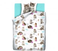 """КПБ 1.5 поплин """"4 YOU"""" Fun&Cute (70х70) рис. 16050-1/16073-1/8672-5 Grey kittens"""
