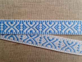 9587 ЛЕНТА ОТДЕЛОЧНАЯ голубое на белом 19мм (рул.25м)