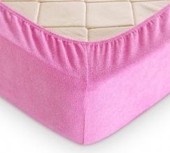 Простыня махровая на резинке 140*200*30 цвет розовый