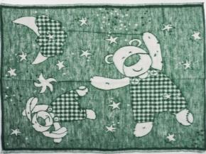 Одеяло п/шерсть 50% 100*140 жаккард цв. зеленый