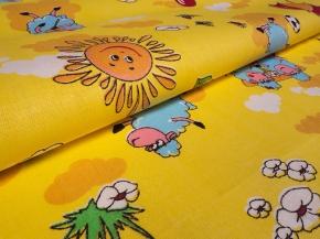 Бязь набивная ГОСТ рисунок 317/1 Овечки 2 желтые, ширина 150 см