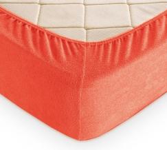 Простыня махровая на резинке 180*200*30 цвет коралл