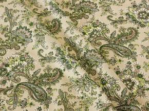 Ткань бельевая 06с-68як (805014) п/лен отб. набивная рис. Огурцы 1102/2 зеленый на сером фоне, ширина 150см