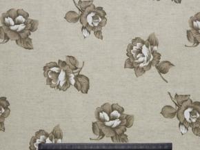 Ткань бельевая арт 175448п/лен п/вареный набивной рис 3948/2 Роза альба, ширина 150см