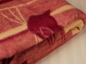 """Одеяло шерсть мериноса 100% 190*205 """"Кошки"""" цв бордо"""