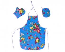 """Набор для кухни """"Цветы"""" голубой из 3-х предметов (фартук+рукавица+прихватка)"""