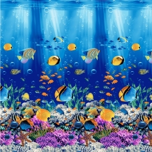 Вафельная-универсал грунт рис. 19960/1 Подводный мир, ширина 150см