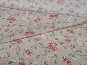 Ткань бельевая арт 7-17 п/лен грунт Хризантемы пудра, 220см