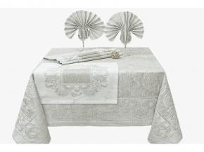 17с373-ШР / уп Комплект столовый Эсмеральда 170 х170+6 салфеток 45*45 цвет серый