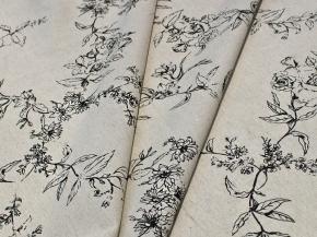 Ткань бельевая арт 146040 п/лен п/вареный набивной рис 05-11/2 шведская роза, ширина 160см