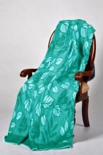 Одеяло п/шерсть 50% 140*205 жаккард Листья цвет изумруд