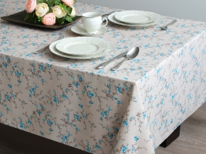 Скатерть 3863-БЧ 144*144 4827-02 Цветочки цв. голубой