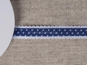 095000578 Лента декоративная шир.15мм, т.синий/бел.горошек (уп.25ярдов/22,86м)