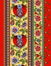 Полотно вафельное набивное рис 19039/1 Гранатовый браслет, ширина 50см