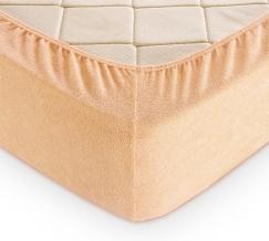 Простыня махровая на резинке 140*200*30 цвет крем