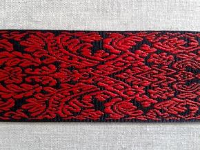 9726 ЛЕНТА ОТДЕЛОЧНАЯ ЖАККАРД черный/красный, 54мм (рул.50м)