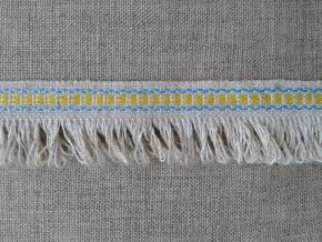 08С3524-Г50 ЛЕНТА ОТДЕЛОЧНАЯ, лён/жёлтый с голубым 20мм