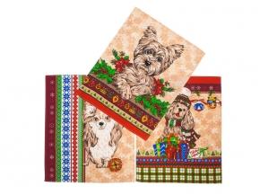 """Полотенце вафельное """"Новогодние собаки"""" купон бежевый 45*60"""