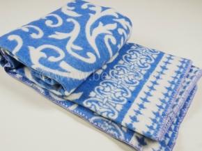 Одеяло хлопковое 140*205 жаккард  3/2 цв.синий