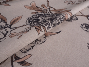 Ткань бельевая арт. 175448 п/лен п/вареный рис 5717/2 Пионы, ширина 150см