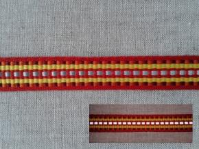 10С3616-Г50 ЛЕНТА ОТДЕЛОЧНАЯ красный с жёлтым/1-полоска СВ, 15мм (рул.25м)