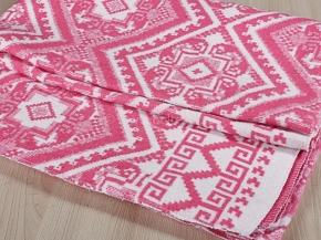 Одеяло байковое 140*205 жаккард цв. розовый  (Россия)
