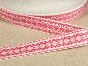9990 ЛЕНТА ОТДЕЛОЧНАЯ ЖАККАРД белый с розовым 23мм (рул.50м)