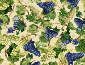 Ткань сувенирная рогожка набивная рис. Виноград 10267/1, ширина 150 см