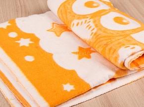 Одеяло байковое 100*140 жаккард цв. оранжевый