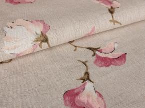 Полулен бельевой кислованный арт. 4-19 рис.1018/1 Горошек розовый, ширина 150см