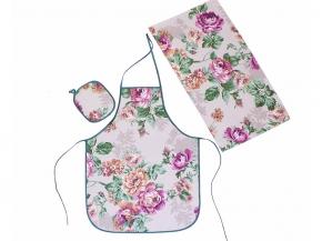 "Набор для кухни ""Розалия"" сирень из 4-х предметов (фартук+ рукавица+ прихватка+полотенце)"